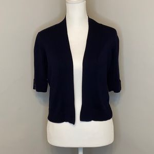 Verve Ami Navy Open Front Cropped Cardigan